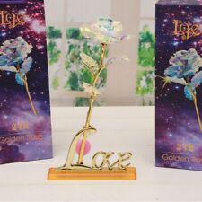 Hot Gold Foil 24K Plated Rose Flower Pot Decor Love Memory Valentine's Day Gift