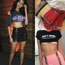 Women's High Waist Lace Up Preppy Hollow Out Bodycon Pencil Short Mini Skirts JJ