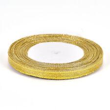 25 Yards Silk Satin Ribbon Gold/Sliver Wrapping Christmas Decorative DIY 6mm WTC