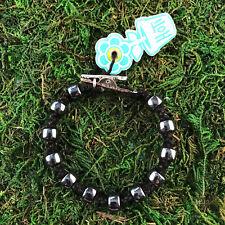 HOTI Hemp Handmade Bracelet Mens Black Hematite Puck Drop Glass Beads Roach Clip