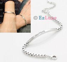 PERSONALIZED ENGRAVED Box Link Slim ID Couple Bracelet venetian name BTS EXO XO