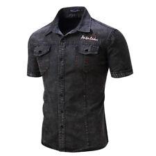 Mens Fashion Jean Denim Shirt Short Sleeve Streetwear Casual Cotton Tops Shirts