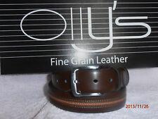 "Men's marron véritable cuir pleine fleur ceinture par OLLYs 1.25"" style Knightsbridge"