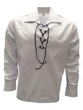 NEW Men's Scottish  Kilt Ghillie Shirt, White