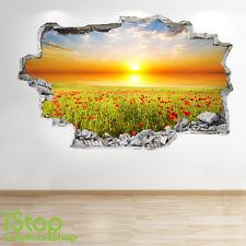 Poppy Field tramonto Oceano Wall Sticker 3d Look-MARE SPIAGGIA camera da letto salotto z126