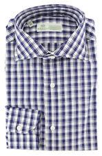 $450 Luigi Borrelli Navy Blue Plaid Cotton Shirt - Extra Slim - (278)
