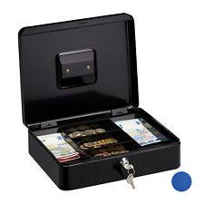 Geldkassette abschließbar Geldkasse flache Stahlkasse Geldbox mit Schlüssel grau