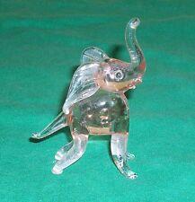 MINI PINK ELEPHANT ART GLASS FIGURE DRUNK NOVELTY SOBER UP TAVERN BAR CURIO VTG