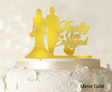 """Finally Got Engaged"" Wedding Cake Topper Mirror Cake Topper Cake Decoration"
