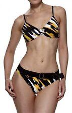 Lepel Savannah Bikini Top with Matching Pant Set Black Multi Print