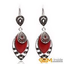 Rhombic Gemstone Beads White Tibetan Silver Jewelry Hook Dangle Earrings 18x32mm