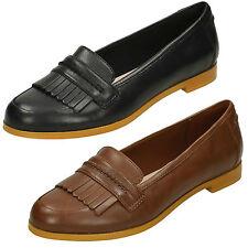 Mujer Clarks ANDORA CRUSH cuero elegante Mocasines Planos Zapatos Estilo Ancho D