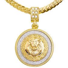"Men's Iced Gold Tone Lion Medallion Pendant 20"" / 24"" Chain Necklace Mcp 2048 G"