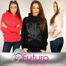Women's Thick Warm Hoodie with Studs Skull Style Fleece Hood Jacket FT1048