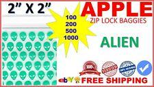 "2"" x 2"" Apple baggies 2020 mini ziplock bags PRINTED DESIGN (ALIEN) QTY"
