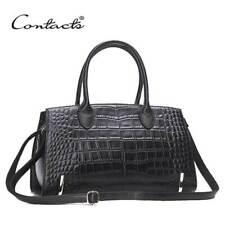 Women's Genuine Leather Crocodile Shoulder Bag Embossed Handbag Purse Cowhide