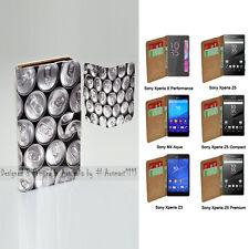 For Xperia XZ XA XP M4 Aqua Z5 Series Z3 - Drink Cans Print Wallet Phone Case