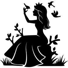 Sticker Geant XXL, Princesse dans la nature avec les oiseaux, 35 à 60cm (PRI008)