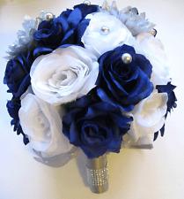 17pc Wedding Bouquet Bridal Silk flower package SILVER ROYAL BLUE WHITE set