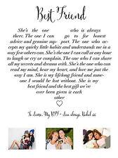 Mejor amigo poema de amor corazón fotografía personalizado de impresión