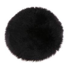 Super Cozy Fake Sheepskin Shag Carpet Fluffy Bedroom Floor Mat 40/60/90cm Black
