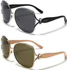 Nuevo Negro Polarizado Gafas De Sol señoras para mujer diseñador Escudo Grande Retro Vintage
