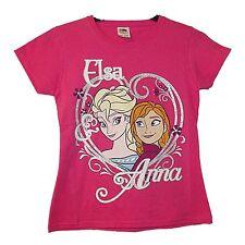 NEW GIRLS EX STORE FROZEN PINK GRAPHIC T-SHIRT 7-13 YEARS Anna Elsa 140 / 152