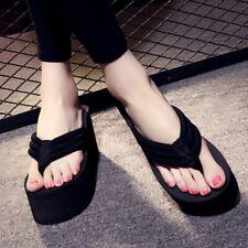 Women Thick High Heel Platform Wedges Flip Flops Slippers Sandals Beach Shoes