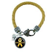 Custom Bone Cancer Awareness Leather Bracelet Jewelry Initial Family Charm