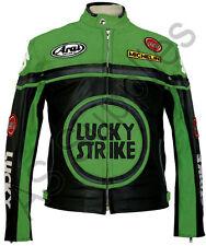 LUCKY STRIKE Leder Motorrad Jacke - Motorradjacke Lederjacke - Schwarz / Grün