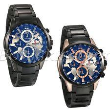 Men's Fashion Business Stainless World Map Decoration Date Quartz Wrist Watch