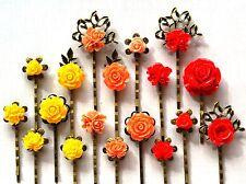 Hair Pin Grip Clips Slides Bobby Vintage Accessories Flower Rose Antique Bronze