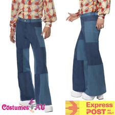Mens 70s Flares Patchwork Costume Denim 1970s Trousers Fancy Dress Dancer Pants