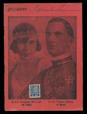 Quaderno Principessa Maria Josè Principe Umberto di Savoia