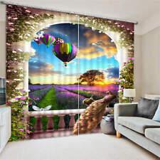 Levander Farm Balloon Sunset 3D Blockout Photo Printing Curtain Drap Fabric Room
