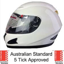NEW FULL FACE MOTORCYCLE HELMET ADULT MEDIUM WHITE 5 tick approved FULL