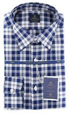 New $600 Luigi Borrelli Navy Blue Plaid Shirt - (EV0665370STEFANO)