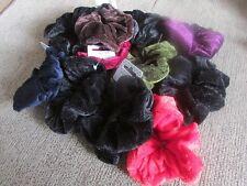 Pack 2 velour hair scrunchies fabric bobbles red blue green elastic scrunchie