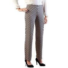 Pantalon femme infroissable taille élastiquée imprimé graphique