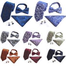 Men's Paisley Floral Bowtie Necktie Pocket Square Handkerchiefs Cufflinks Set