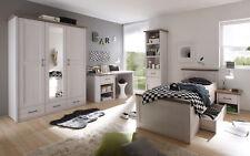 Jugendzimmer Luca 5-teilig Pinie weiß Kleiderschrank Jugendbett Schreibtisch