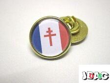 PINS BADGE FFI - CROIX DE LORRAINE DRAPEAU FRANCE LIBRE - FINITION ARGENT OU OR