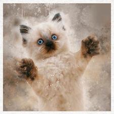 Cat, Cute Fun, watercolour splatter -Fabric Cushion Craft Quilting Panel