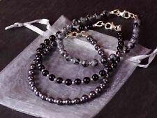925 Sterling Silver Black Grey Gemstone Bead Bracelet Hematite Onyx Obsidian