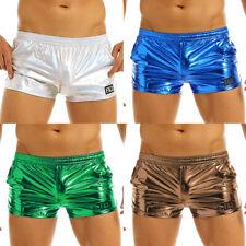 Mens Shiny Metallic Boxer Shorts Trunk Pouch Underpants Bikini Swimwear Costume
