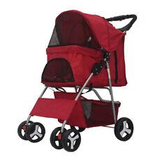 New listing Pet Stroller Cat Dog Cage 4 Wheels Stroller Travel Folding Carrier Usa New