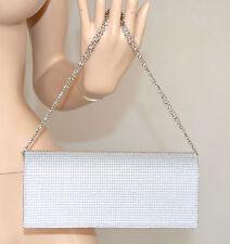 POCHETTE donna BORSELLO ARGENTO elegante borsa da CERIMONIA borsetta clutch 730A
