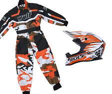 Kids Wulfsport MX Motocross, Quad Karting Overall & Helmet- Orange Camo Set #O7