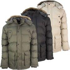 Soul Star Acolchado Parka Chaqueta Acolchada de Piel Sintética Para Hombre cálida con capucha de invierno abrigo pesado