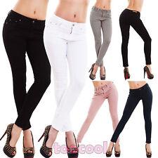 Jeans donna pantaloni skinny slim sigaretta elasticizzati colorati nuovi M5353